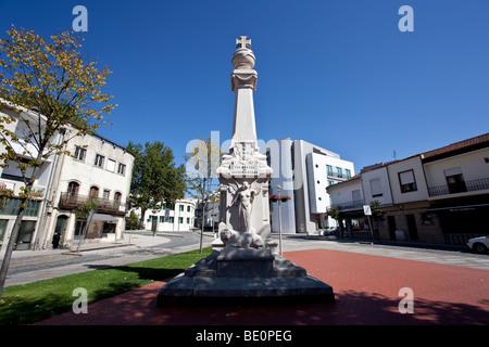 Memorial to the victims of the First World War (the Great War) in 9 de Abril Square, Vila Nova de Famalicão city, - Stock Photo