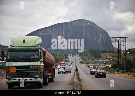 Zuma Rock is an opposing monolith in Nigeria's Niger State, towering over the road to the capital city of Abuja. - Stock Photo