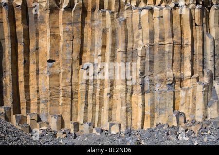 Basalt columns in the Region nature reserve of the Auvergne volcanoes. Orgues basaltiques dans le Parc Naturel d'Auvergne. - Stock Photo