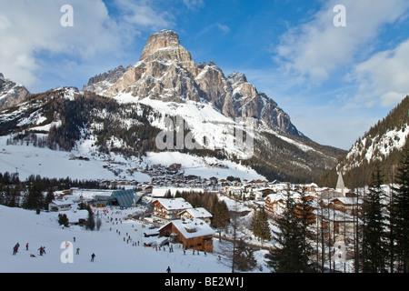 Corvara, Sella Ronda ski area, Sassongher mountain, Val Gardena, Dolomites, South Tirol, Trentino Alto-Adige, Italy - Stock Photo