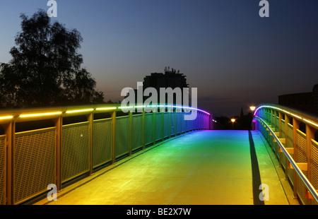 Bridge with rainbow-coloured lighting over the federal road 1, Highway 40, Dortmund, Ruhr area, North Rhine-Westphalia, - Stock Photo