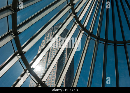 The Messeturm, Fair Tower, 257 meters, seen through the entrance to the subway, Westend, Frankfurt am Main, Hesse, - Stock Photo