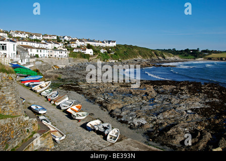 the village of portscatho on the roseland peninsula in cornwall, uk - Stock Photo