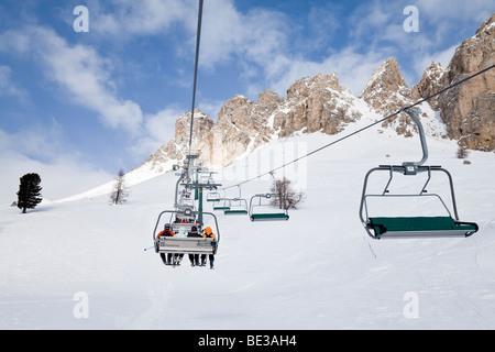 Sella Ronda ski area, Val Gardena, Sella Massif mountain range, Dolomites, South Tirol, Trentino Alto-Adige, Italy - Stock Photo