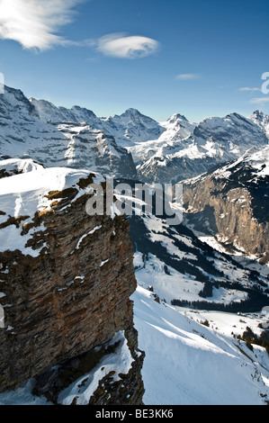 Lauterbrunnen valley in winter, Bernese Oberland, Canton of Bern, Switzerland, Europe - Stock Photo
