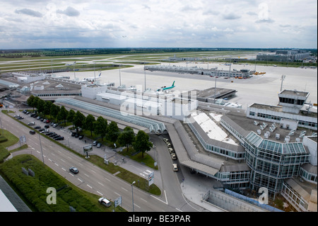 View from the tower on to Terminal 1 of Munich Airport, Bavaria, Germany, Europe - Stock Photo