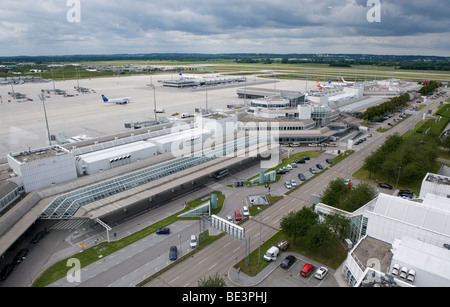 View from the tower on to Terminal 2 of Munich Airport, Bavaria, Germany, Europe - Stock Photo