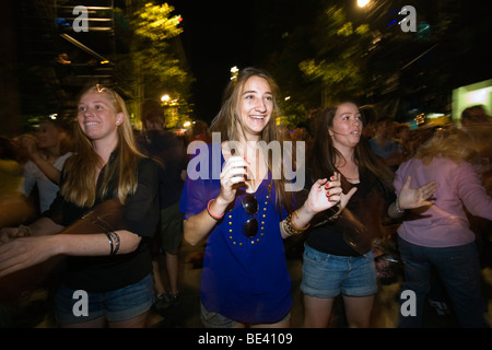 People dancing in Martin Place during the annual Sydney Festival First Night. Sydney, New South Wales, AUSTRALIA - Stock Photo