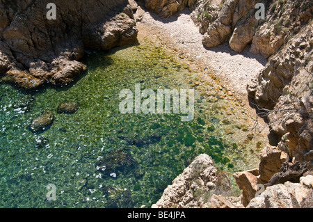 Small cove in the Palamos coast line, Girona, Spain - Stock Photo