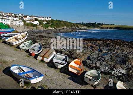 portscatho harbour on the roseland peninsula,cornwall,uk - Stock Photo