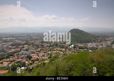 View from one of the hills of Plovdiv Bulgaria - Stock Photo