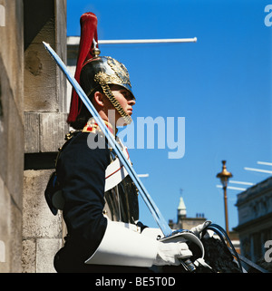 Horse Guard on duty in Whitehall London England GB - Stock Photo