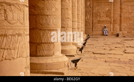 Pillars with temple guard sitting in the Great Courtyard, hieroglyphics, Horus Temple, Edfu, Luxor, Nile Valley, - Stock Photo