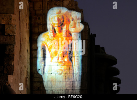 Image projected onto wall of the Karnak Temple, Luxor, Egypt, Africa - Stock Photo