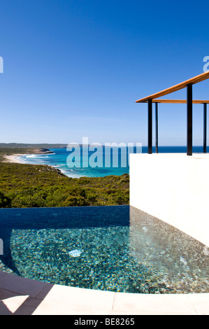 The deserted swimming pool of the Southern Ocean Lodge under blue sky, Hanson Bay, Kangaroo Island, South Australia, - Stock Photo