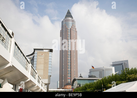 Frankfurt Messe MesseTurm Trade Fair Tower in the Messegelande complex - Stock Photo