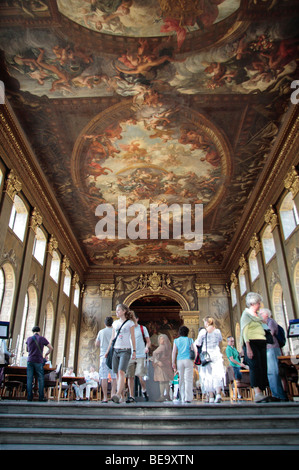 An interior view of the Lower Hall ceiling in the Painted Hall, Old Royal Naval College, Greenwich, London, UK. - Stock Photo