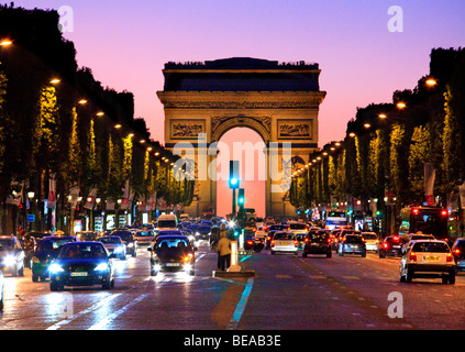 Paris at Night  Arc de Triomphe and Champs Elysees - Stock Photo