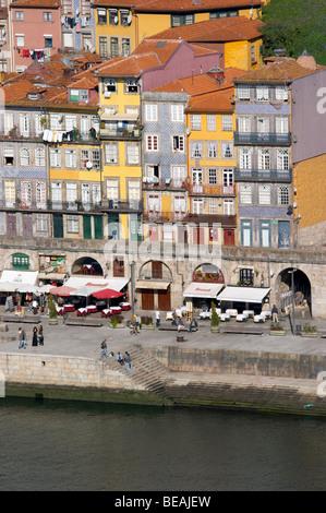 cais da ribeira porto portugal - Stock Photo