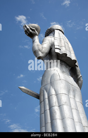 Monumental aluminium statue of Kartlis Deda (Mother of Georgia) by Elgudja Amashukeli, overlooking Tbilisi - Stock Photo