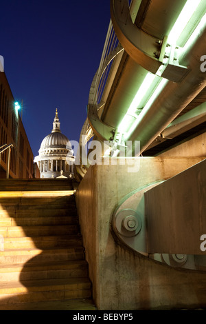 Millennium Bridge and St Paul's Cathedral - Stock Photo