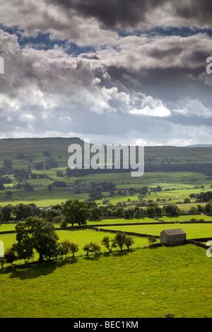 Addlebrough and Worton, Wensleydale, Yorkshire Dales National Park - Stock Photo
