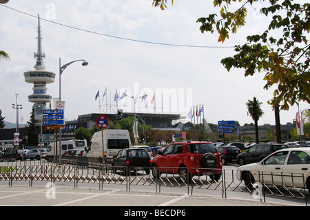 International Trade fair complex and the OTE telecommunications tower central Thessaloniki northern Greece EU - Stock Photo