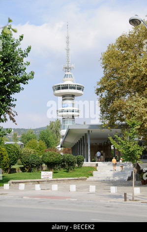 Entrance to the Archaeological Museum of Thessaloniki northern Greece EU and the OTE telecommunications tower - Stock Photo