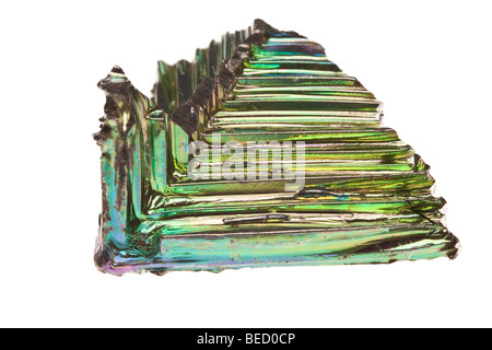 Bismuth, metal, elementary, hopper crystals, step lattice formation - Stock Photo