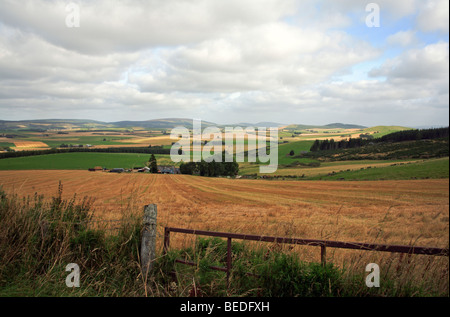 A countryside landscape after harvest from the Correen Hills, near Alford, Aberdeenshire, Scotland, United Kingdom. - Stock Photo