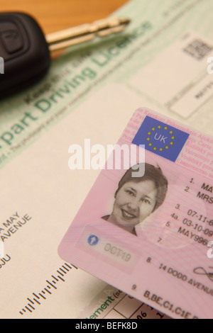 UK Driving Licence photo identity ID with European Union logo and car ignition key - Stock Photo