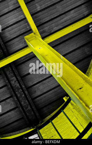 yellow steel structure - Stock Photo