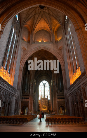 interior of the Cathedral Church of Christ Liverpool Anglican Cathedral Merseyside England UK - Stock Photo