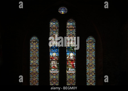 Stained glass window, Christ Church Cathedral, Port Stanley, Falkland Islands - Stock Photo
