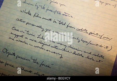 Original early George Lucas story script for Star Wars on display at NASA Space Center Houston Texas USA - Stock Photo