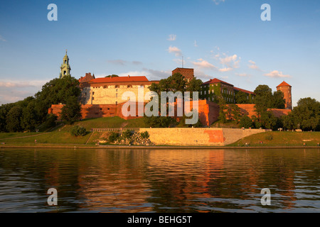 Eastern Europe Poland Malopolska Region Krakow Royal Wawel Hill Cathedral Castle River Vistula - Stock Photo