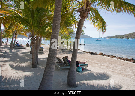 Vacationers relax under Palm trees on on the beach at Bitter End - Stock Photo