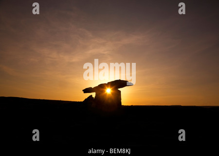 The 6,000 year old Poulnabrone Dolmen (Portal Tomb), The Burren, County Clare, Ireland - Stock Photo