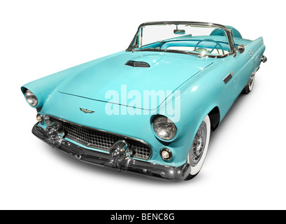 Sky-blue 1956 Ford Thunderbird classic retro car - Stock Photo