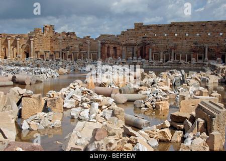 Ancient ruins of Roman forum at Leptis Magna / Lectis Magna / Lepcis Magna in Khoms / Al Khums near Tripoli, Libya, - Stock Photo