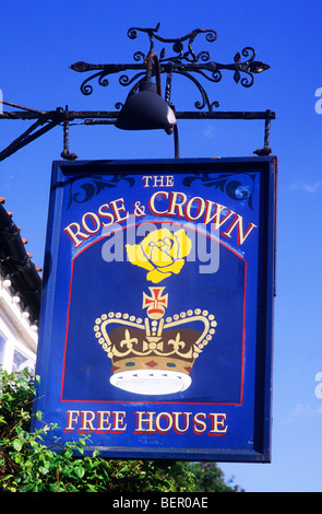 Rose and Crown, Snettisham, Inn Pub sign signs English Norfolk England UK Free House signboard signboards Inns Pubs - Stock Photo