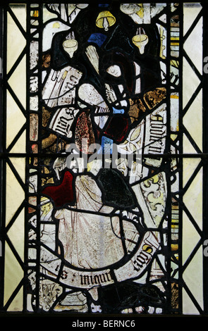 Detail of a medieval stained glass window in the Church of St Peter, Allexton, Leicestershire - Stock Photo