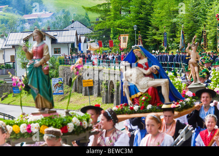 Corpus Christi procession in Marktschellenberg, Germany - Stock Photo