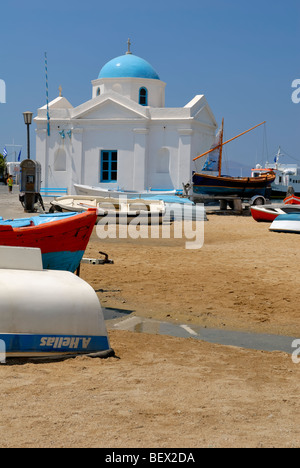 The Church of Agios Nikolaos is in Caiques harbour in the town of Mykonos, Hora. Hora, Mykonos Island, Cyclades - Stock Photo