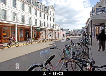 Main street, Mackinac Island, Michigan - Stock Photo