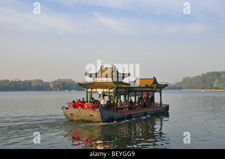 Touristic Boat in Beihai park Beijing - Stock Photo