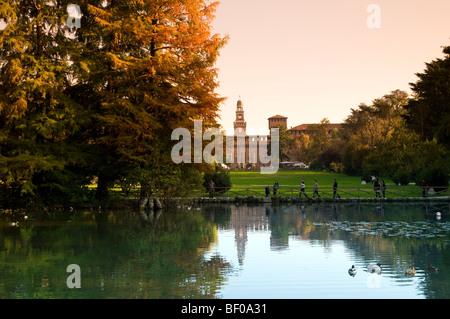 Sempione park with Sforzesco castle in the background, Milan, Italy - Stock Photo