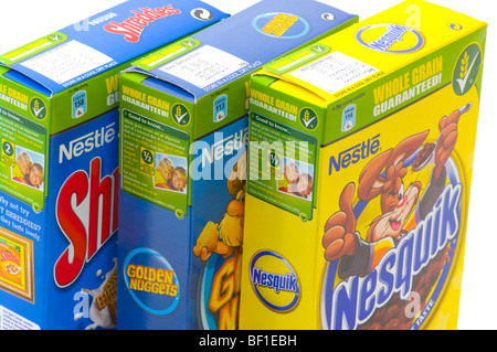 Boxes Of Nestle Breakfast Products - Stock Photo
