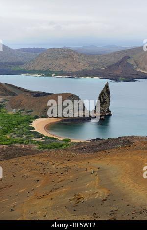 Sullivan Bay and Pinnacle Rock, Bartolom Island, Galapagos Islands, Ecuador, South America - Stock Photo