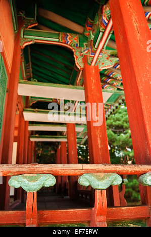 Detail of railing of Yeonhwadang in The Seceret Garden in Changdeokgung Royal Palace in Seoul - Stock Photo